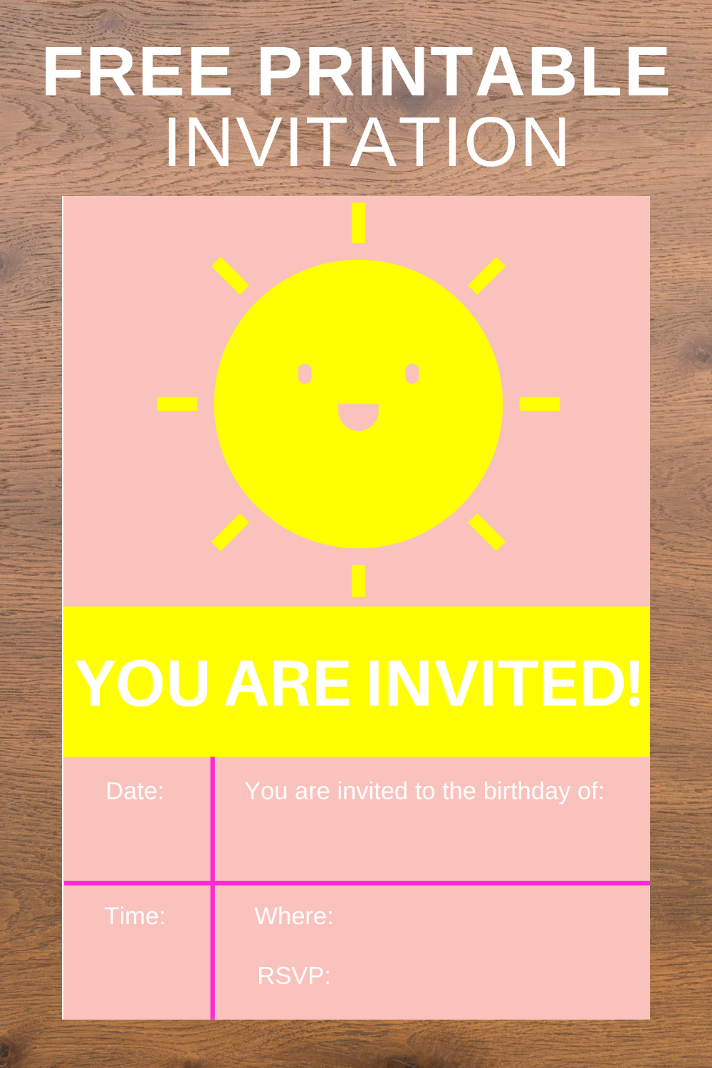 free printable summer themed birthday party invite