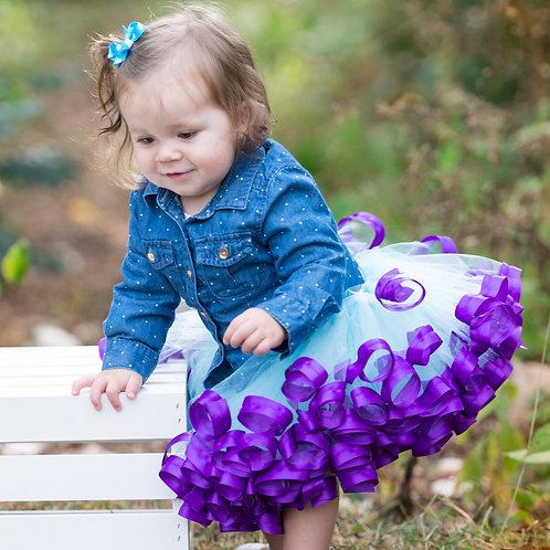 aqua and purple tutu skirt on 2 year old
