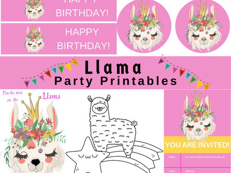 Llama Party Kit | Free Printables | Invitation | Thank You Card | Water Bottle Wrapper | Games