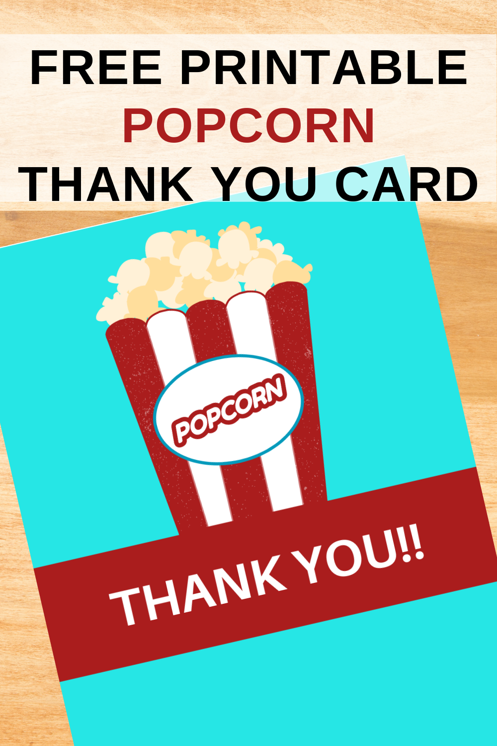 popcorn thank you card for a carnival birthday party