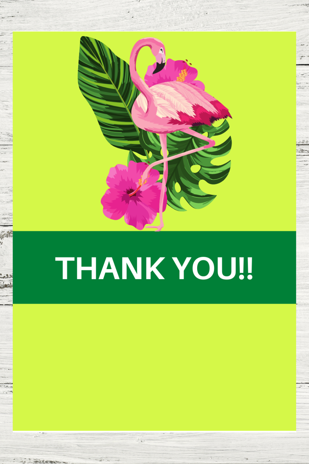 first birthday tropical flamingo thank you card for kids