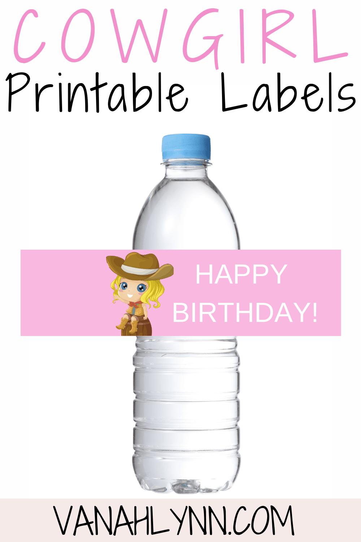 western birthday decoration ideas - water bottle label