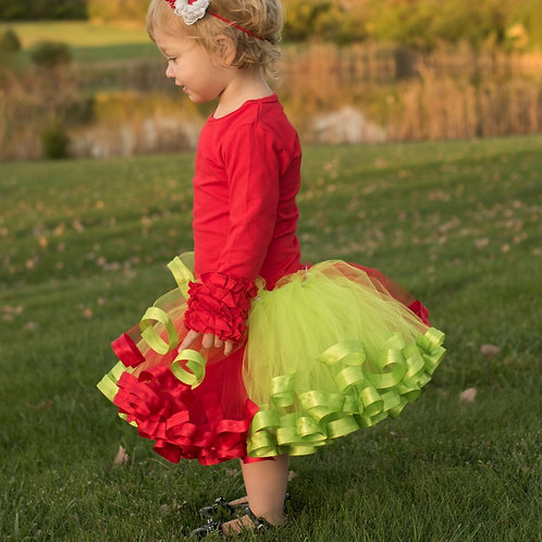 red and green tutu skirt on toddler girl