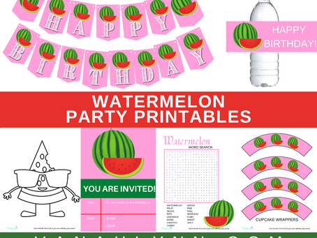 Watermelon Party Kit | Free Printable Watermelon Birthday Party Ideas | Watermelon Décor & Games