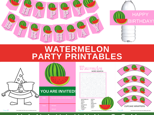 Watermelon Party Kit | Free Printable Watermelon Birthday Party Ideas | Watermelon Décor & Games