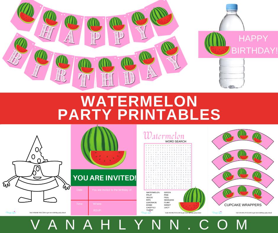 free printable watermelon party kit