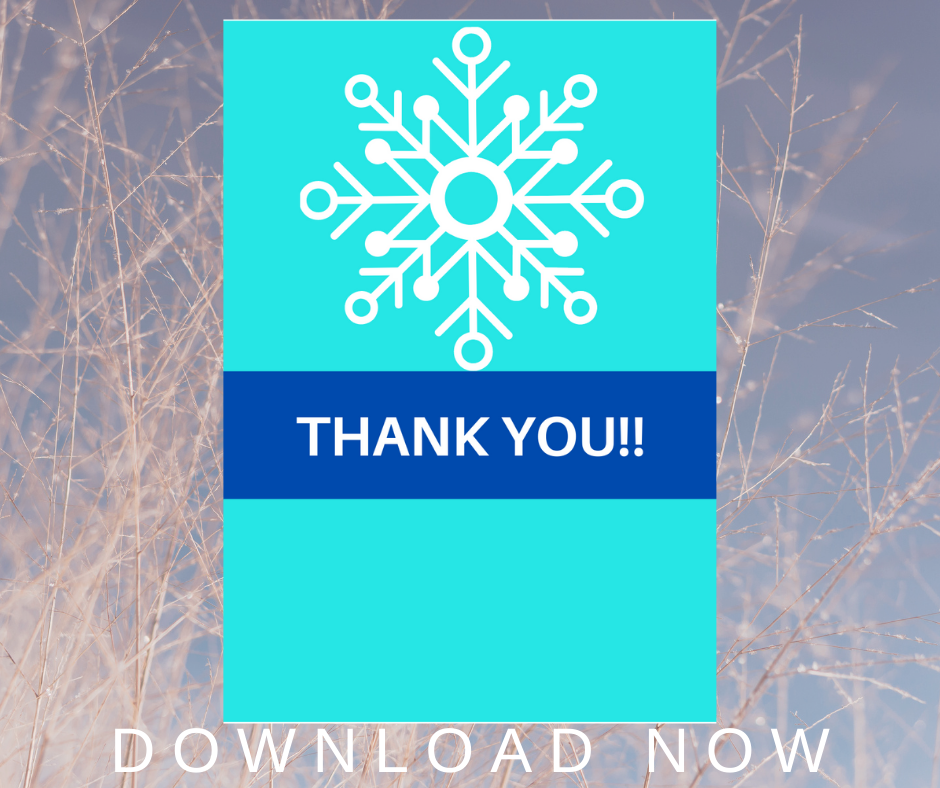 winter themed thank you card for little girls birthday party