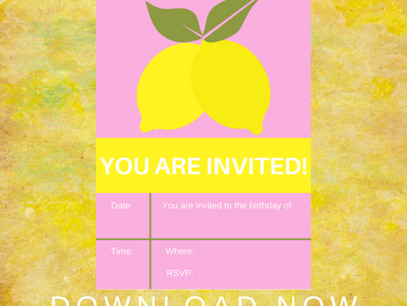 Lemonade Invite | Free Printable Lemon Invitation | Lemonade Themed Birthday Party Ideas