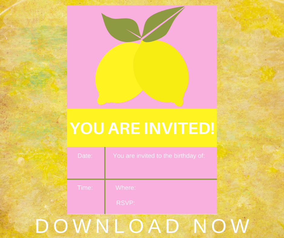 lemonade themed birthday party invitation for kids