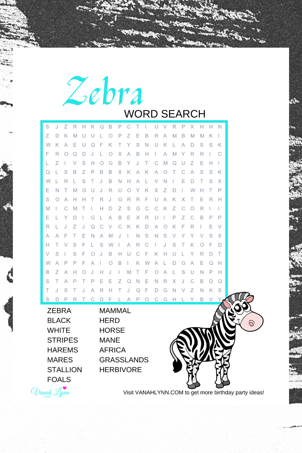 free download: zebra activity sheet for a little girls birthday party