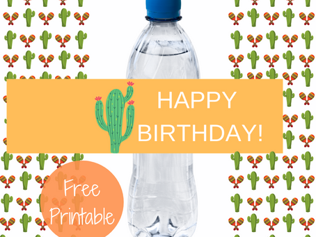 Fiesta Water Bottle Label | Free Printable Cactus Birthday Party Ideas | DIY Fiesta Party Decoration