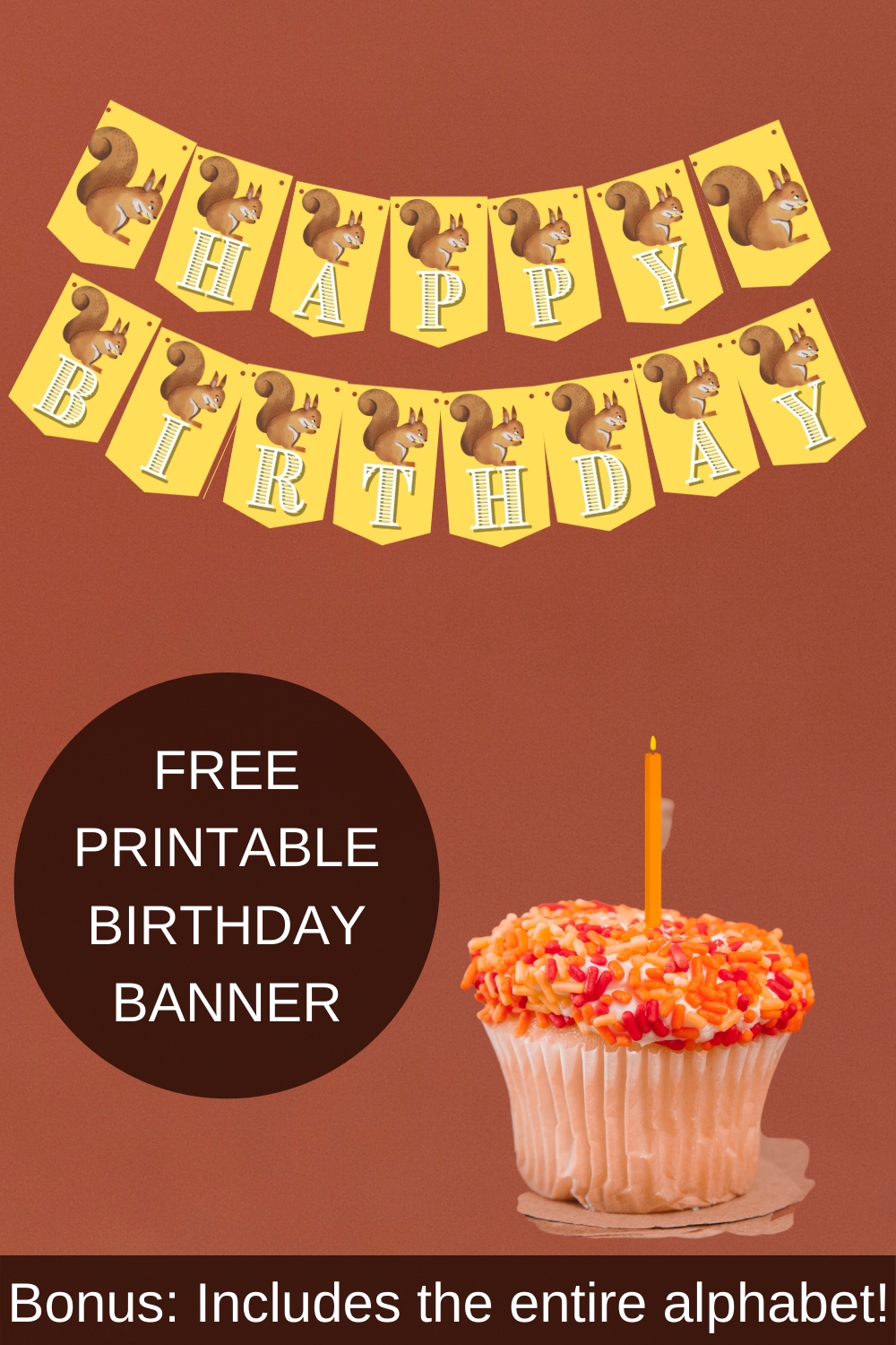 brown and yellow birthday party banner