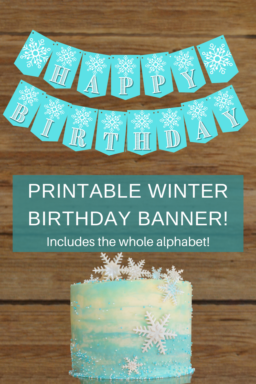 blue and white snowflake banner for a winter first birthday party