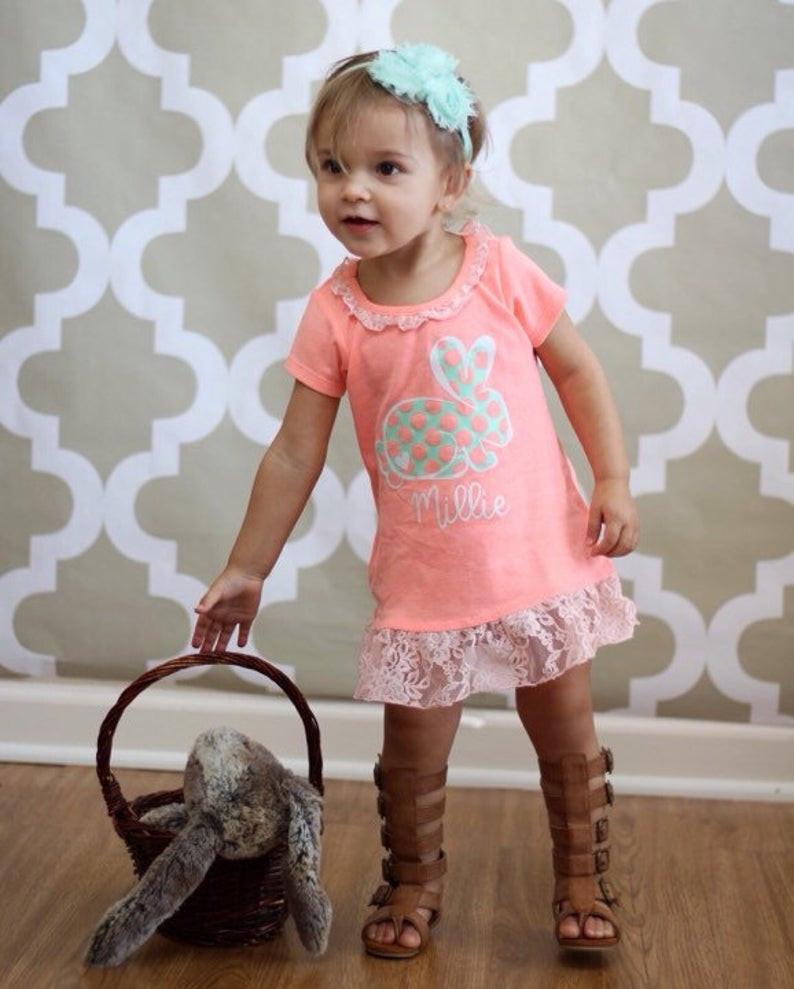 easter bunny dress on toddler girl