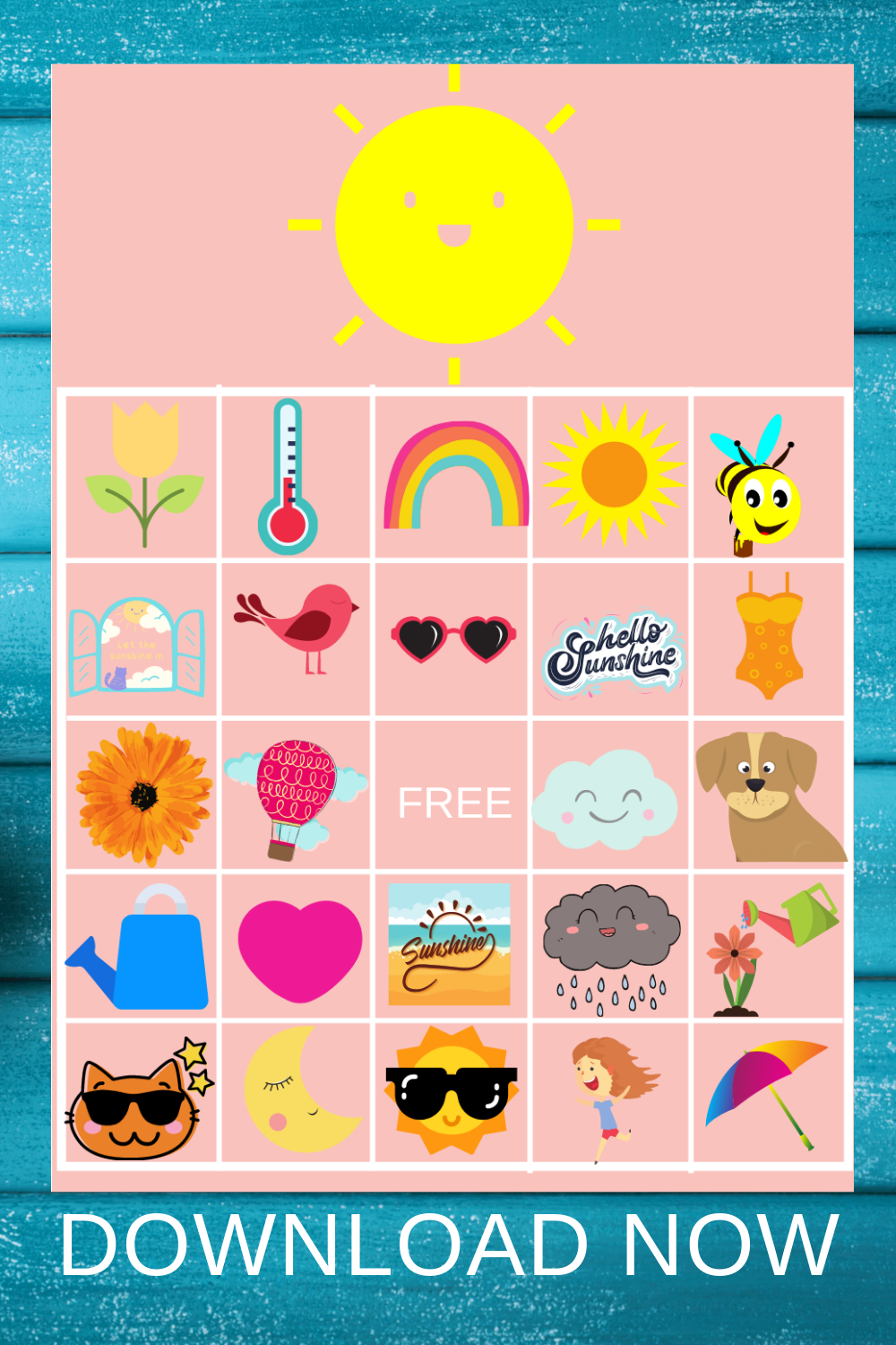 sunshine bingo game for a little girl's birthday party