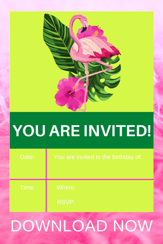free printable flamingo birthday party ideas