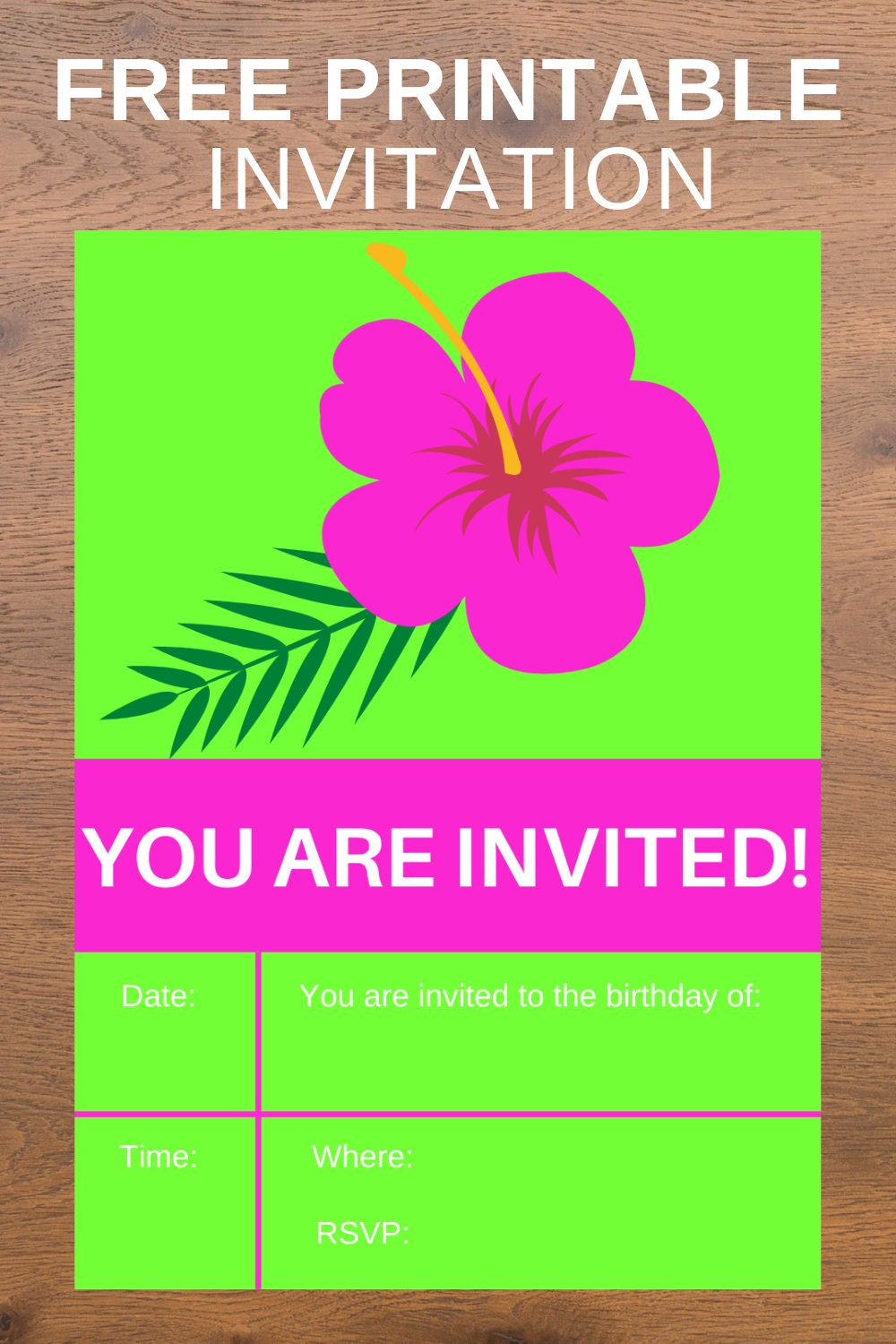 free download: tropical birthday party invite card for 1st birthday party