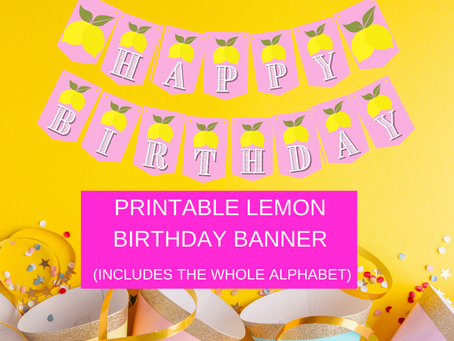 Lemonade Themed Party Décor: Lemon Happy Birthday Banner and Lemon Alphabet Banner