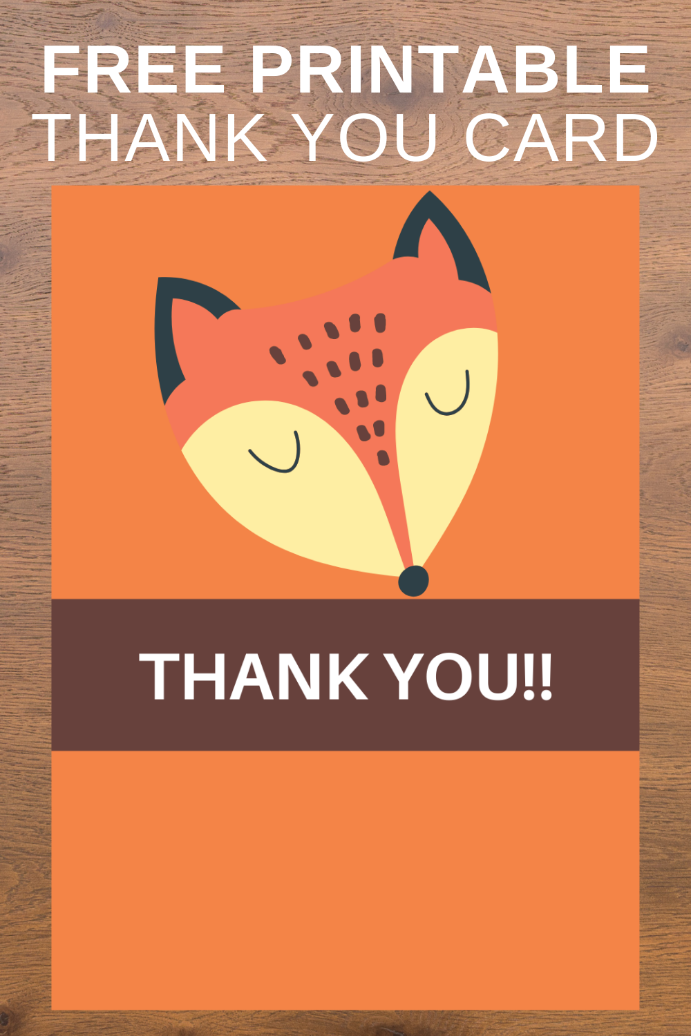 free download: fox thank you note for little girls birthday party