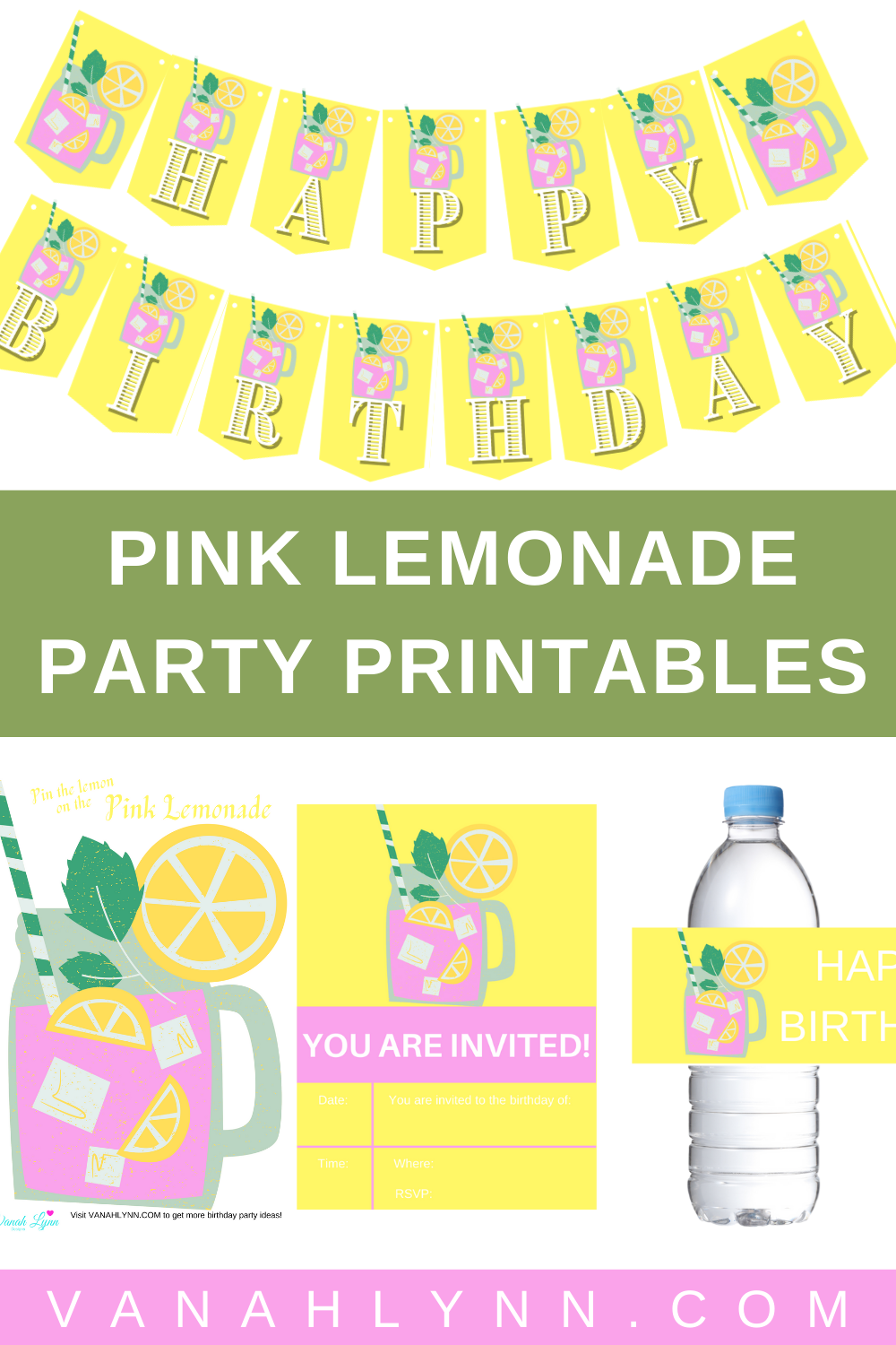 pink and yellow free printable birthday party supplies