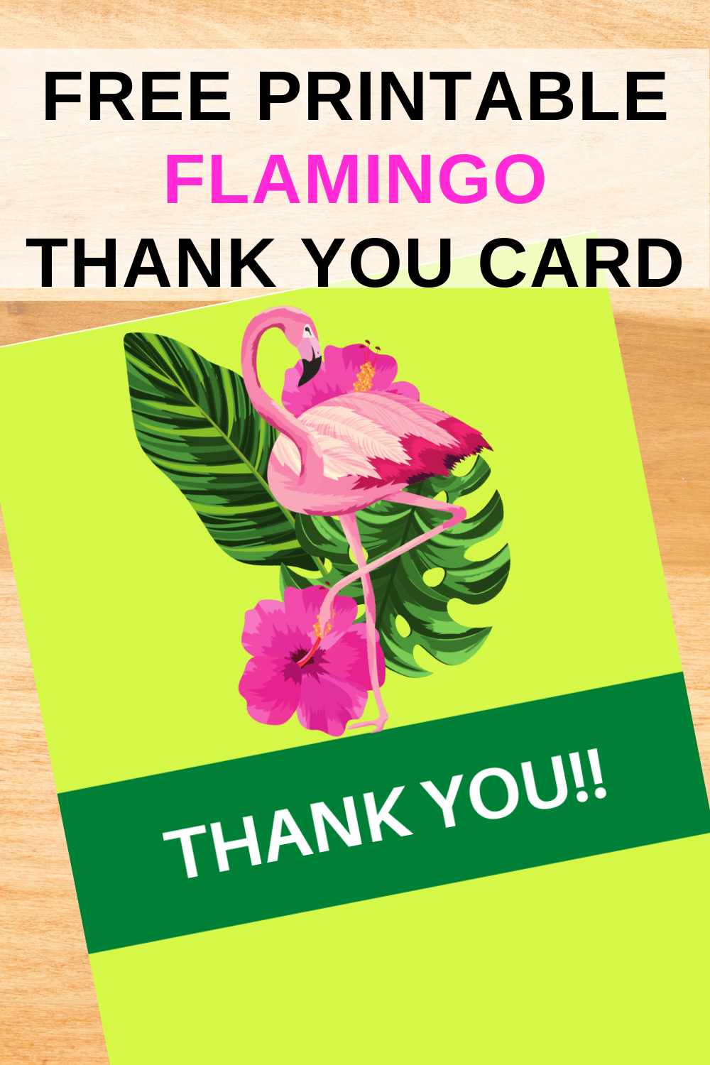 free download: tropical flamingo thank you note for toddlers