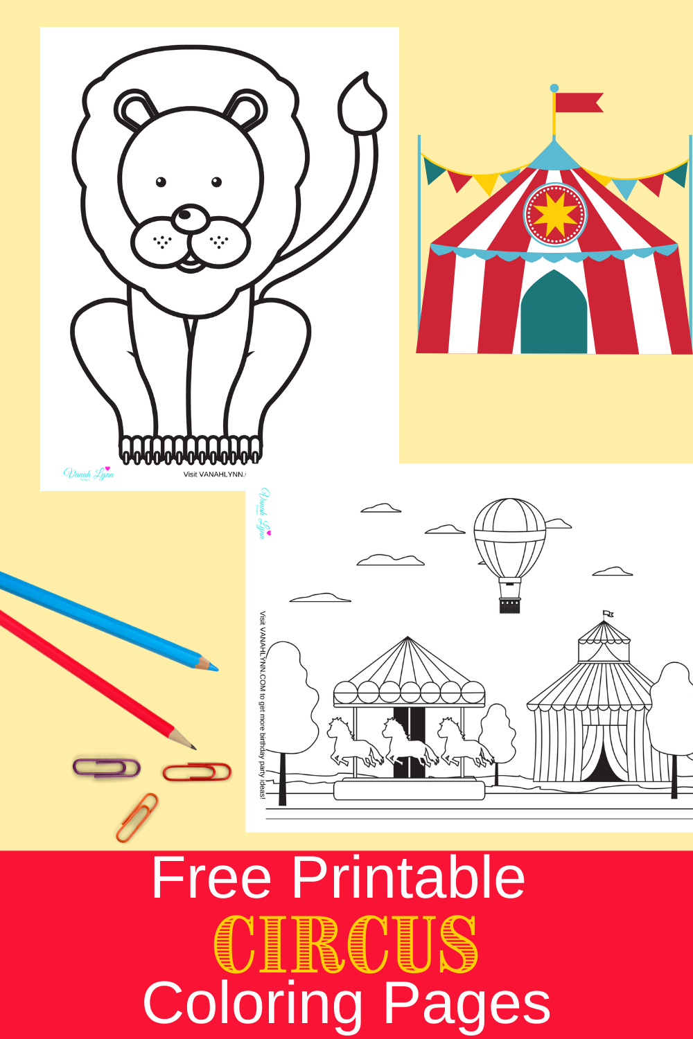 free printable circus themed activities for a birthday party