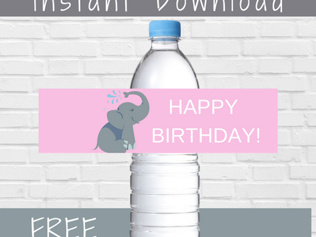 Elephant Water Bottle Label | Free Printable Elephant Birthday Party Ideas | DIY Elephant Decoration