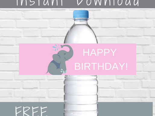 Elephant Water Bottle Label | Free Printable Elephant Birthday Party Ideas | DIY Elephant Decoration