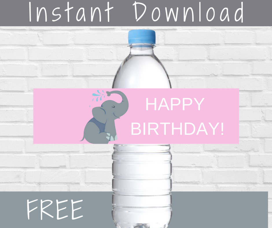 elephant happy birthday water bottle label for party decorations