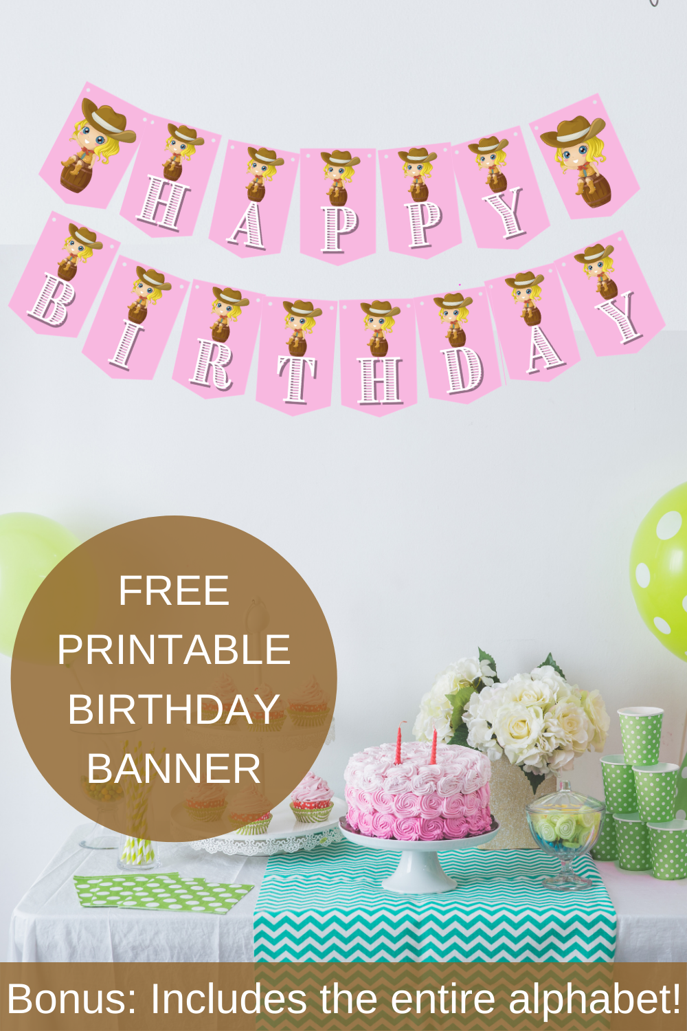 Cowgirl Happy Birthday Banner and Alphabet Banner