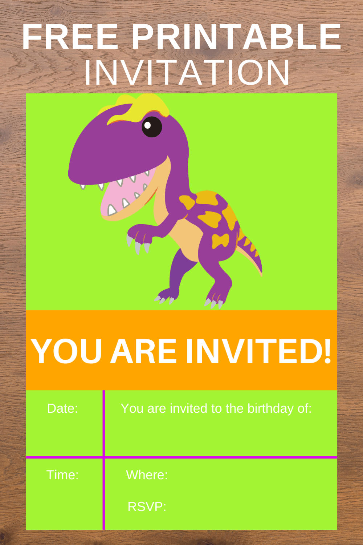 digital dinosaur birthday invitations free