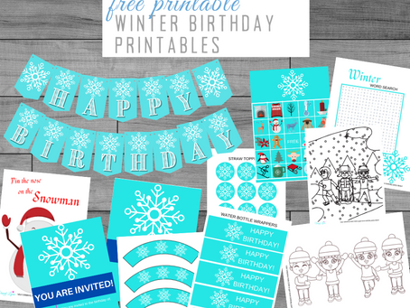 Winter Party Kit | Free Printable Winter Themed Birthday Party Ideas | Winter Décor, Invite & Games