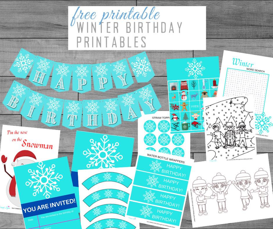 free printable winter party kit
