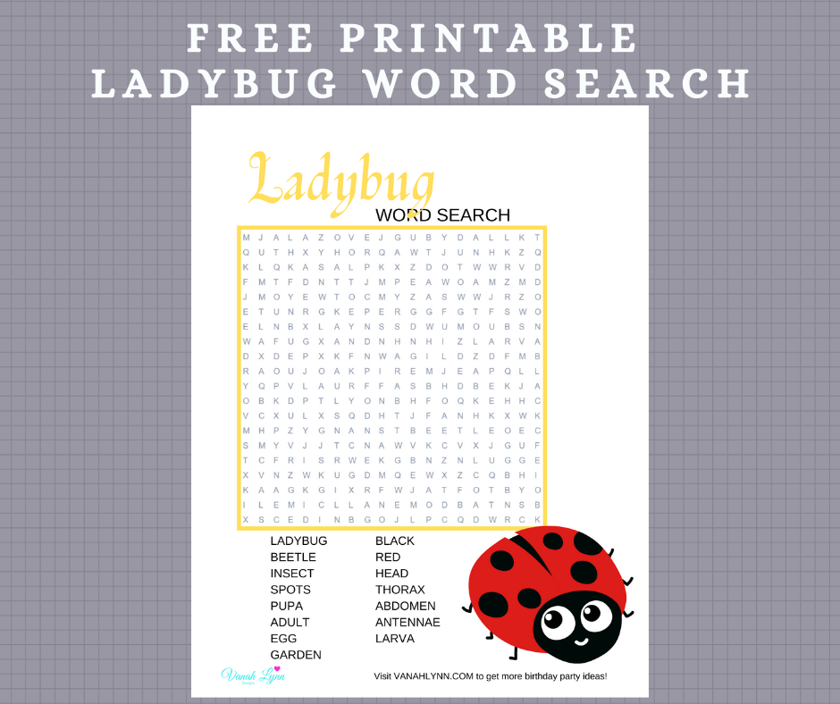 ladybug word search for kids birthday party