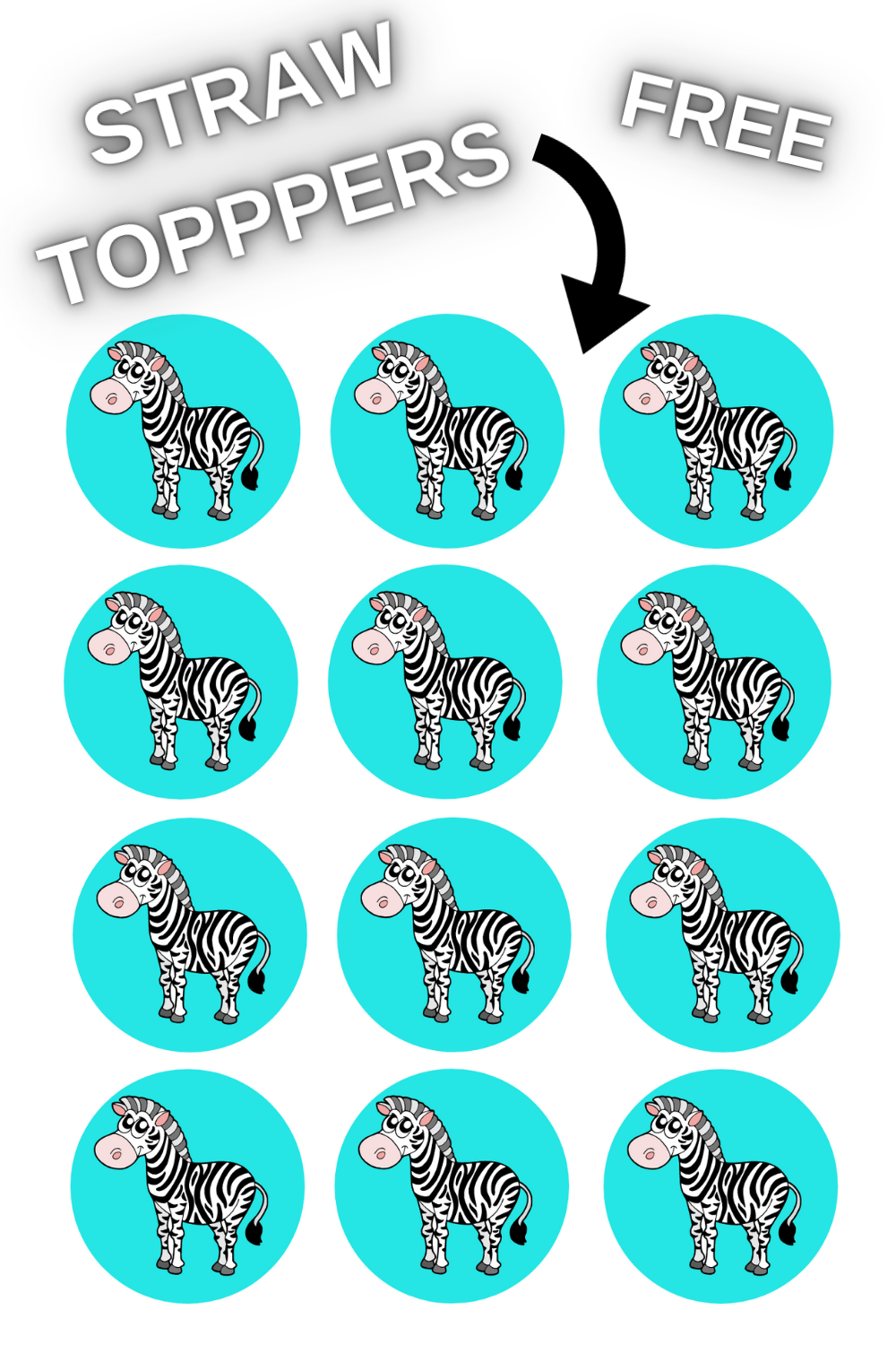 free download zebra straw topper for birthday party