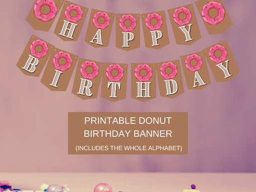 Donut Happy Birthday Banner and Donut Alphabet Banner | Donut Themed Birthday Party Decorations