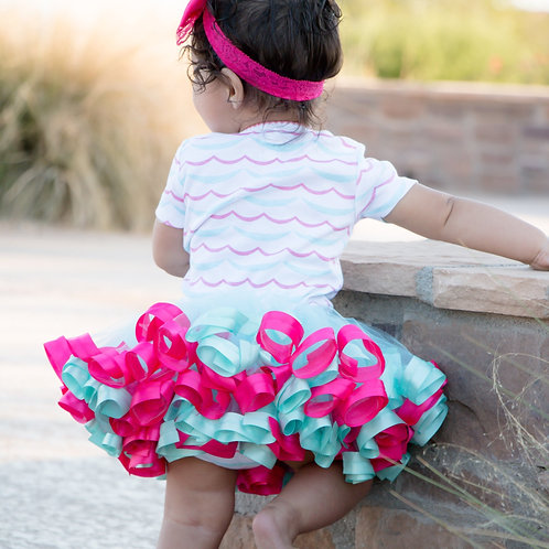 aqua and hot pink tutu on little girl