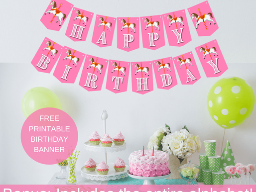 Carousel Happy Birthday Banner and Carousel Alphabet Banner | Carousel Themed Party Decorations