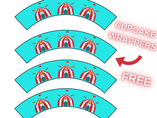 DIY Circus Theme Party: Free Printable Circus Tent Cupcake Wrappers