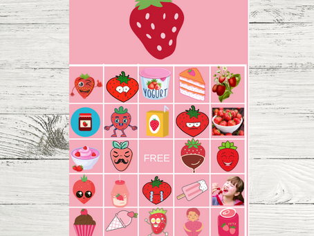 Strawberry Bingo | Strawberry Themed Party Game Idea | Strawberry Birthday Party Activity