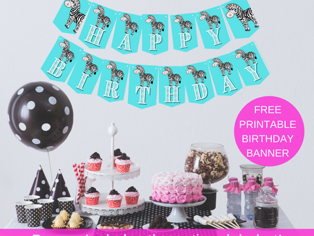 Zebra Happy Birthday Banner and Zebra Alphabet Banner | Zebra Themed Birthday Party Decorations