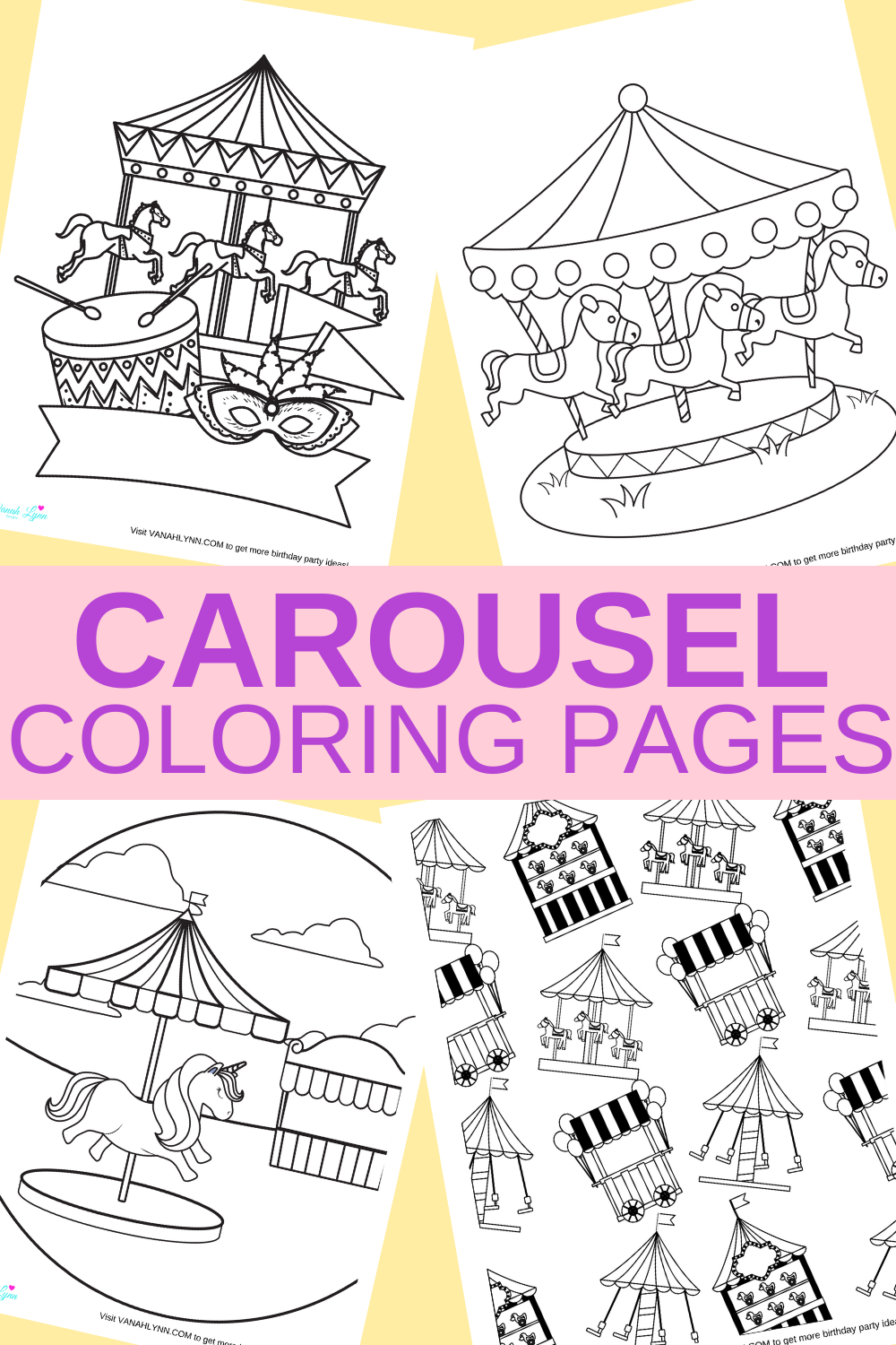 free download carousel coloring pages for a birthday party