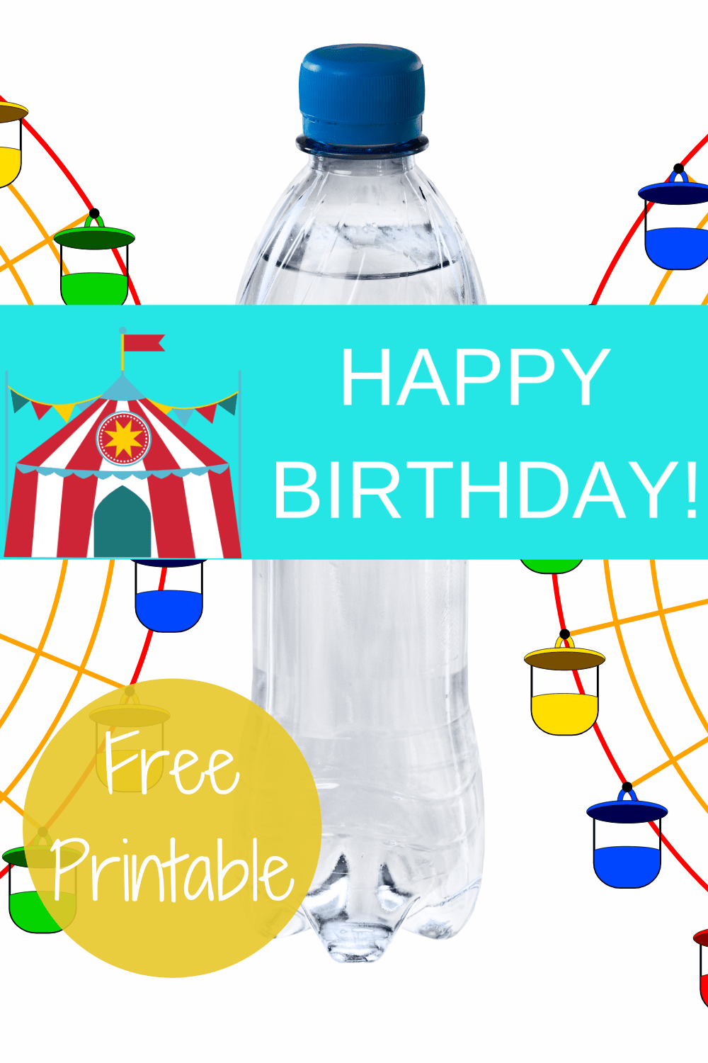 circus tent decoration ideas - water bottle lables
