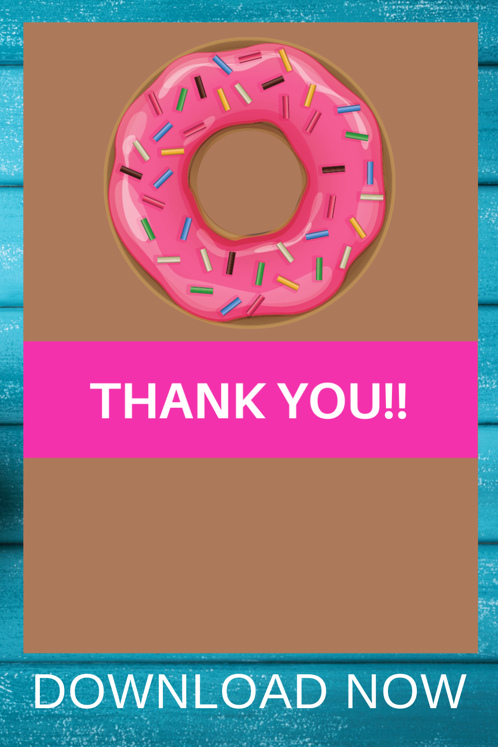 1st birthday donut birthday party thank you card