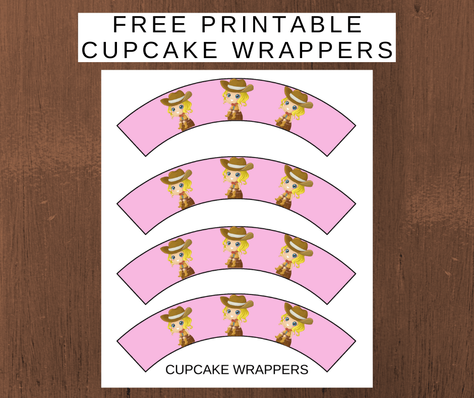 pink cowgirl party theme cupcake wrappers