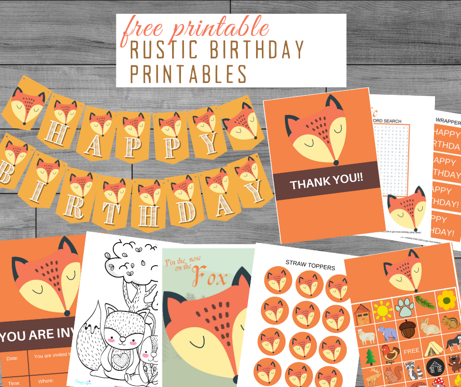 free printable rustic party kit