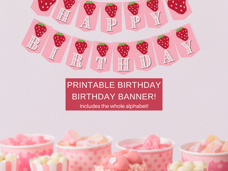 Strawberry Happy Birthday Banner and Strawberry Alphabet Banner | Strawberry Themed Party Décor