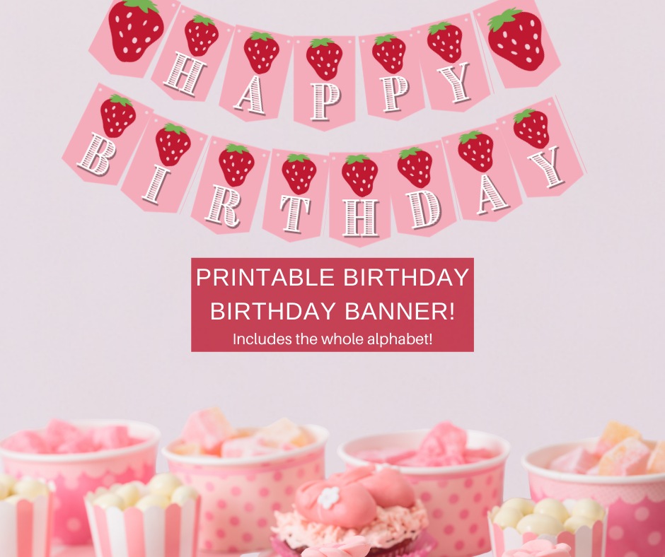 pink and red strawberry birthday party banner