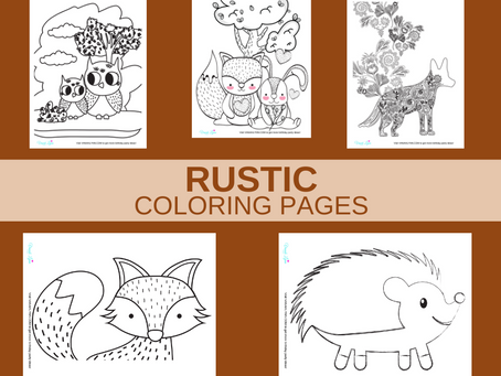 Rustic Coloring Pages | Free Printable Rustic Animal Activity Sheets | Rustic Birthday Party Ideas