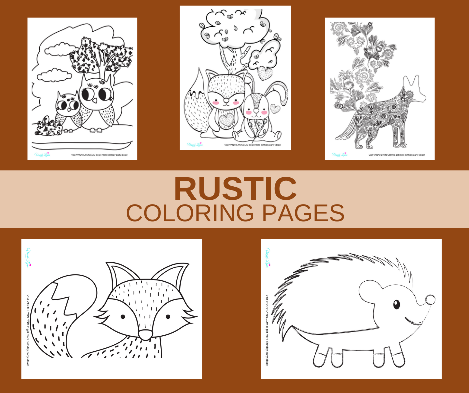 rustic woodland themed coloring pages